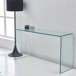 Glass Console Table, Transparent Tempered  Glass Console Table with Rounded Edges Desks, Sofa Table