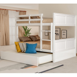 Full Over Full Bunk Bed with Twin Size Trundle, White