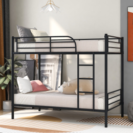Twin Over Twin Metal Bunk Bed (Black)