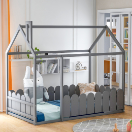 (Slats are not included) Twin Size Wood Bed House Bed Frame with Fence, for Kids, Teens, Girls, Boys (Gray )