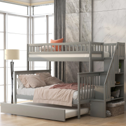 Twin over Full Bunk Bed with Trundle and Staircase,Gray