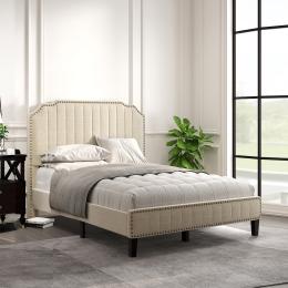 Modern Linen Curved Upholstered Platform Bed , Solid Wood Frame , Nailhead Trim (Full)