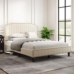 Modern Linen Curved Upholstered Platform Bed , Solid Wood Frame , Nailhead Trim (Queen)