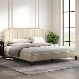 Modern Linen Curved Upholstered Platform Bed , Solid Wood Frame , Nailhead Trim (King)