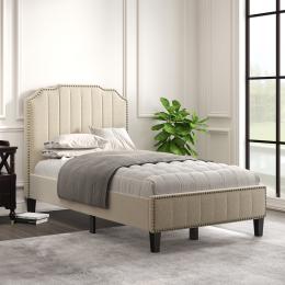 Modern Linen Curved Upholstered Platform Bed , Solid Wood Frame , Nailhead Trim (Twin)