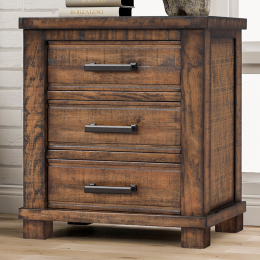 Rustic Three Drawer Reclaimed Solid Wood Framhouse Nightstand