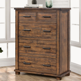 Rustic 5 Drawer Reclaimed Solid Wood Framhouse Chest Tallboy