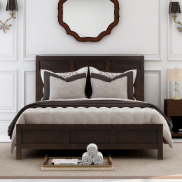 Classic Queen Platform Bed in Rich Brown No Box Spring Needed (Freely Configurable Bedroom Sets)