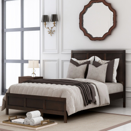 Classic Full Platform Bed in Rich Brown No Box Spring Needed( Configurable Bedroom Sets)