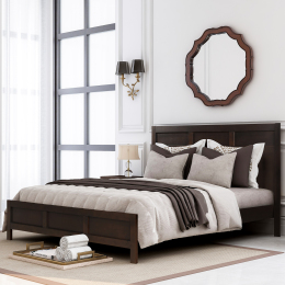 Classic King Platform Bed in Rich Brown No Box Spring Needed (Freely Configurable Bedroom Sets)