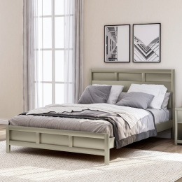 Modern Queen Platform Bed in Platinum Silver No Box Spring Needed(Freely Configurable Bedroom Sets)