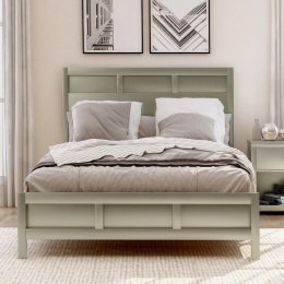 Modern Full Platform Bed in Platinum Silver No Box Spring Needed (Freely Configurable Bedroom Sets)