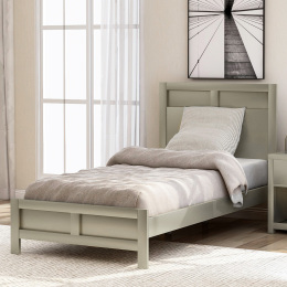 Modern Twin Platform Bed in Platinum Silver No Box Spring Needed (Freely Configurable Bedroom Sets)