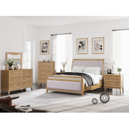 Hazel 6-Piece Upholstered and Wood King Bedroom Set ( King Bed+ Night Stand*2+ Dresser+Mirror + Chest )