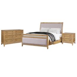 Hazel 3-Piece Upholstered and Wood Queen Bedroom Set ( Queen Bed+ Night Stand+ dresser)