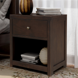Vintage Aesthetic 1 Drawer Solid Wood Nightstand Sofa End Table in Rich Brown (Nightstand of Freely Configurable Bedroom Sets)