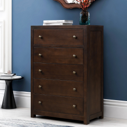 Vintage Aesthetic 5 Drawers Solid Wood Chest in Rich Brown (Chest of Freely Configurable Bedroom Sets)