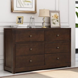 Vintage Aesthetic Solid Wood 6 Drawer Double Dresser in Rich Brown (Dresser of Freely Configurable Bedroom Sets)