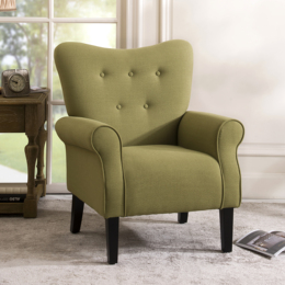 Modern Wing Back Accent Chair Roll Arm Living Room Cushion with Wooden Legs,Avocado