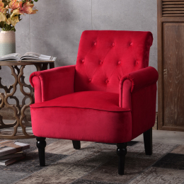 Elegant Button Tufted Club Chair Accent Armchairs Roll Arm Living Room Cushion with Wooden Legs, Deep Burgundy