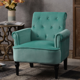 Elegant Button Tufted Club Chair Accent Armchairs Roll Arm Living Room Cushion with Wooden Legs, Teal Velvet