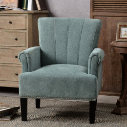 Accent Rivet Tufted Polyester Armchair ,Mint Green