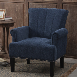 Accent Rivet Tufted Polyester Armchair ,Navy Blue
