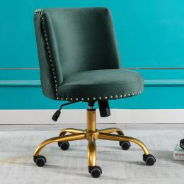 Velvet Home Office Desk Chair, Swivel Accent Chair for Living Room and Bedroom, Modern Tilt Task Chair for Computer Desk,Green