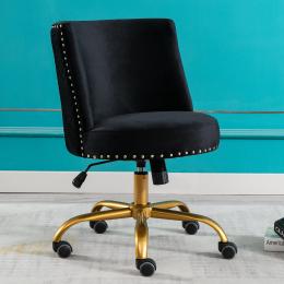 Velvet Home Office Desk Chair, Swivel Accent Chair for Living Room and Bedroom, Modern Tilt Task Chair for Computer Desk,Black