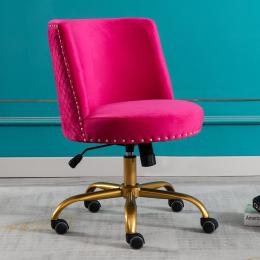 Velvet Home Office Desk Chair, Swivel Accent Chair for Living Room and Bedroom, Modern Tilt Task Chair for Computer Desk,Fushia