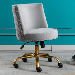 Velvet Home Office Desk Chair, Swivel Accent Chair for Living Room and Bedroom, Modern Tilt Task Chair for Computer Desk,Grey