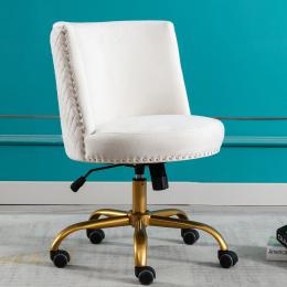 Velvet Home Office Desk Chair, Swivel Accent Chair for Living Room and Bedroom, Modern Tilt Task Chair for Computer Desk,Ivory