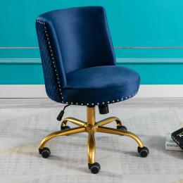 Velvet Home Office Desk Chair, Swivel Accent Chair for Living Room and Bedroom, Modern Tilt Task Chair for Computer Desk,Navy