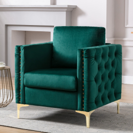 Modern Velvet Armchair Tufted Button Accent Chair Club Chair with Steel Legs for Living Room Bedroom,Green