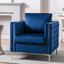 Modern Velvet Armchair Tufted Button Accent Chair Club Chair with Steel Legs for Living Room Bedroom,Navy