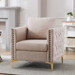 Modern Armchair Tufted Button Accent Chair Club Chair with Steel Legs for Living Room Bedroom,Tan