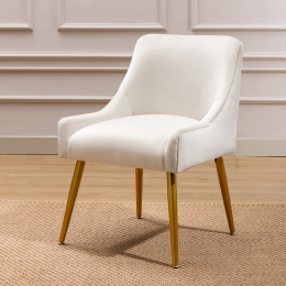 Modern Velvet Wide Accent Chair Side Chair with Swoop Arm Metal Legs for Club Bedroom Living Room Meeting Room Office Study, Ivory