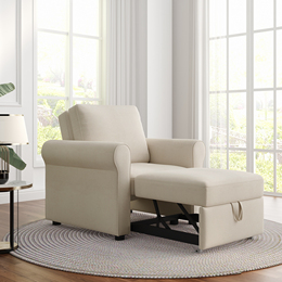 3-in-1 Sofa Bed Chair, Convertible Sleeper Chair Bed,Adjust Backrest Into a Sofa,Lounger Chair,Single Bed,Modern Chair Bed Sleeper for Adults,Beige