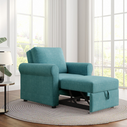 3-in-1 Sofa Bed Chair, Convertible Sleeper Chair Bed,Adjust Backrest Into a Sofa,Lounger Chair,Single Bed,Modern Chair Bed Sleeper for Adults,Teal