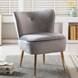 Accent Living Room Side Wingback Chair Grey Velvet Fabric Upholstered Seat Chairs Occasional Bedroom  Leisure Chairs