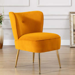 Accent Living Room Side Wingback Chair Ginger Velvet Fabric Upholstered Seat Chairs Occasional Bedroom  Leisure Chairs