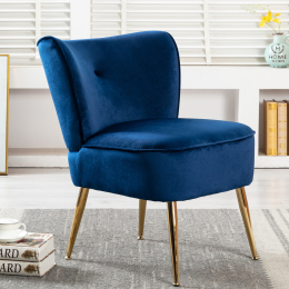 Accent Living Room Side Wingback Chair Navy Velvet Fabric Upholstered Seat Chairs Occasional Bedroom  Leisure Chairs