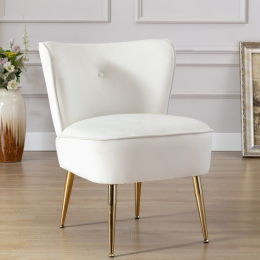 Accent Living Room Side Wingback Chair Ivory Velvet Fabric Upholstered Seat Chairs Occasional Bedroom  Leisure Chairs
