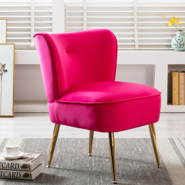 Accent Living Room Side Wingback Chair Fuchsia Velvet Fabric Upholstered Seat Chairs Occasional Bedroom  Leisure Chairs
