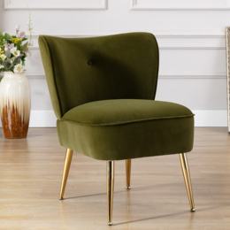 Accent Living Room Side Wingback Chair Grass green Velvet Fabric Upholstered Seat Chairs Occasional Bedroom  Leisure Chairs