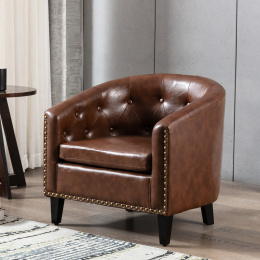 PU Leather Tufted Barrel ChairTub Chair for Living Room Bedroom Club Chairs