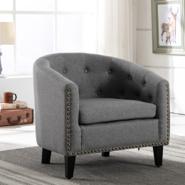 linen Fabric Tufted Barrel ChairTub Chair for Living Room Bedroom Club Chairs