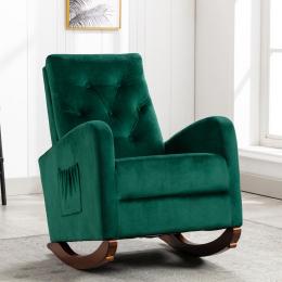 Baby Room High Back Rocking Chair Nursery Chair , Comfortable Rocker Fabric Padded Seat ,Modern High Back Armchair