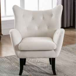 Velvet Wingback Accent Chair Armchair Modern Tufted Button Vanity Chair with Wooden legs for Living Room Bedroom,Beige