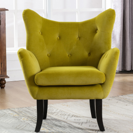 Velvet Wingback Accent Chair Armchair Modern Tufted Button Vanity Chair with Wooden legs for Living Room Bedroom,Avocado